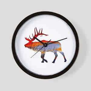 Sunset elk Wall Clock