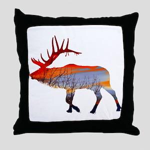 Sunset elk Throw Pillow
