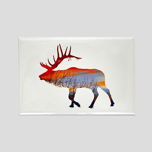 Sunset elk Rectangle Magnet