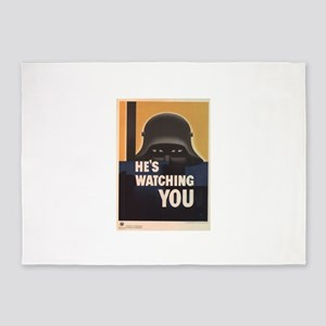 WWII He's Watching You 5'x7'Area Rug