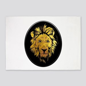 Golden Lion with Sapphire Blue Eyes 5'x7'Area Rug