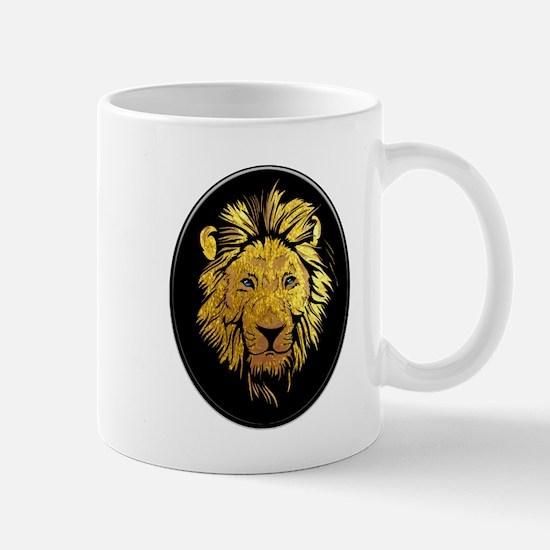 Golden Lion with Sapphire Blue Eyes Medallion Mugs