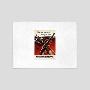 M1 Garand WWII Work For Freedom 5'x7'Area Rug