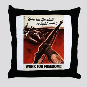 M1 Garand WWII Work For Freedom Throw Pillow
