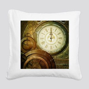 Steampunk, the clockswork Square Canvas Pillow