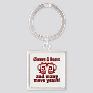 Cheers And Beers 55 And Many More Square Keychain