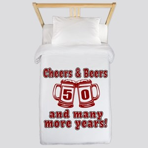 Cheers And Beers 50 And Many More Years Twin Duvet