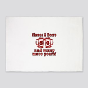 Cheers And Beers 50 And Many More Y 5'x7'Area Rug