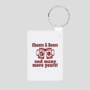 Cheers And Beers 50 And Ma Aluminum Photo Keychain