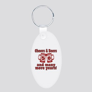 Cheers And Beers 50 And Man Aluminum Oval Keychain