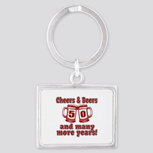 Cheers And Beers 50 And Many Mo Landscape Keychain