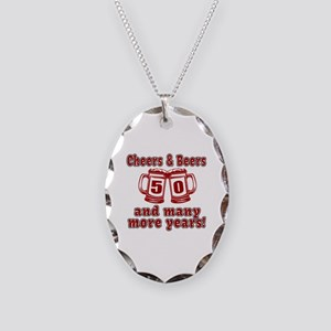 Cheers And Beers 50 And Many M Necklace Oval Charm