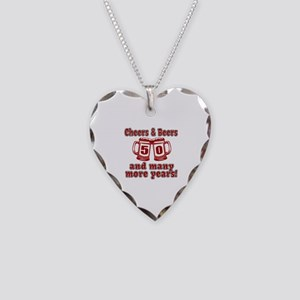 Cheers And Beers 50 And Many Necklace Heart Charm