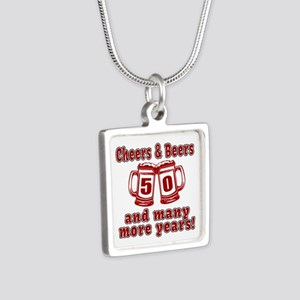 Cheers And Beers 50 And Ma Silver Square Necklace