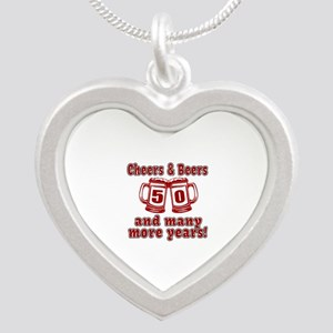 Cheers And Beers 50 And Many Silver Heart Necklace