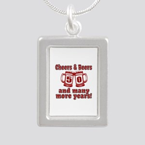 Cheers And Beers 50 And Silver Portrait Necklace