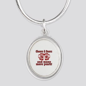 Cheers And Beers 50 And Many Silver Oval Necklace