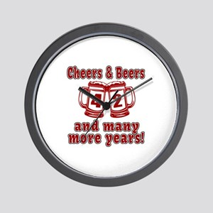 Cheers And Beers 42 And Many More Years Wall Clock