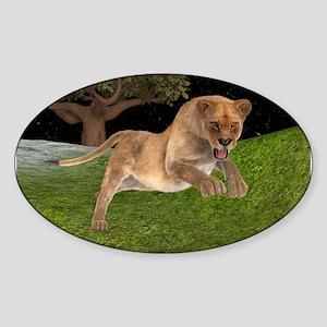 Female Lion Hunting Sticker