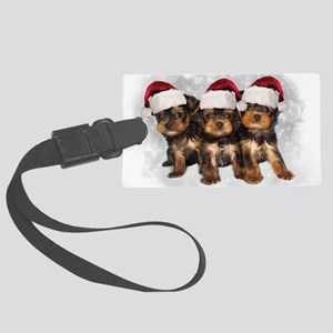 Christmas Yorkshire Terriers Large Luggage Tag