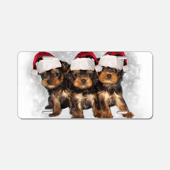 Christmas Yorkshire Terrier Aluminum License Plate