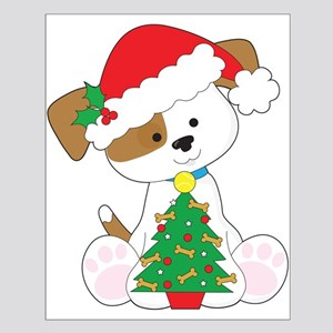 Cute Puppy Santa Small Poster