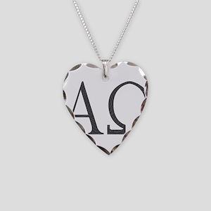 Alpha Omega Necklace Heart Charm