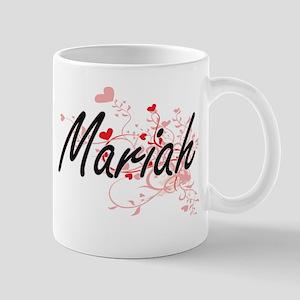 Mariah Artistic Name Design with Hearts Mugs
