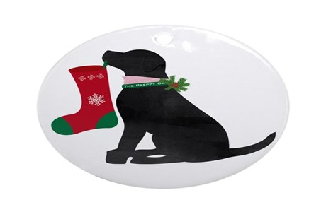Christmas Black Lab Preppy Dog Round Ornament