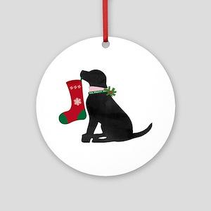 Christmas Black Lab Preppy Dog Round Ornament