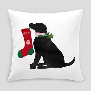 Christmas Black Lab Preppy Dog Everyday Pillow