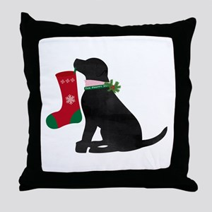 Christmas Black Lab Preppy Dog Throw Pillow