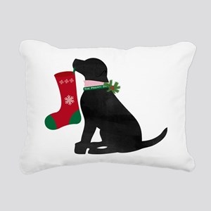 Christmas Black Lab Preppy Dog Rectangular Canvas