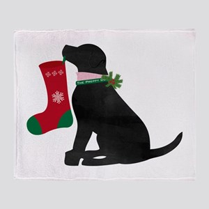 Christmas Black Lab Preppy Dog Throw Blanket