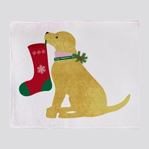 Christmas Retriever Preppy Dog Throw Blanket