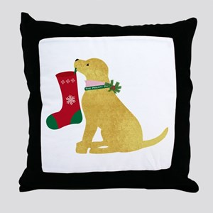 Christmas Retriever Preppy Dog Throw Pillow