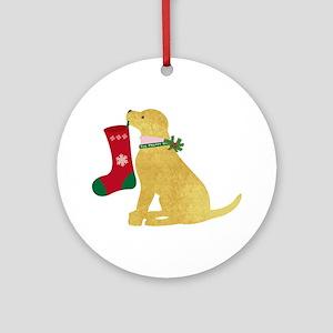 Christmas Retriever Preppy Dog Round Ornament