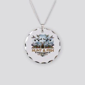 Hunt and fish Necklace Circle Charm