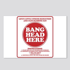 Bang Head Here Stress Red Postcards (Package of 8)