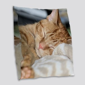 Purrfectly sleeping Burlap Throw Pillow