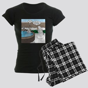 Snowman in an Hot Tub Women's Dark Pajamas