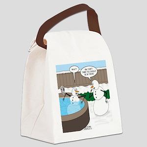 Snowman in an Hot Tub Canvas Lunch Bag