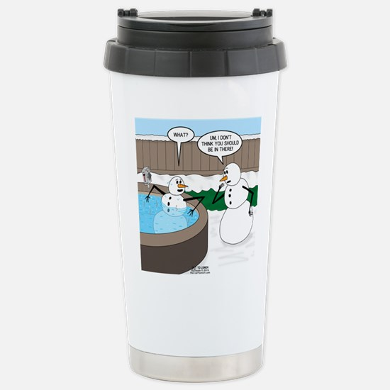 Snowman in an Hot Tub Stainless Steel Travel Mug