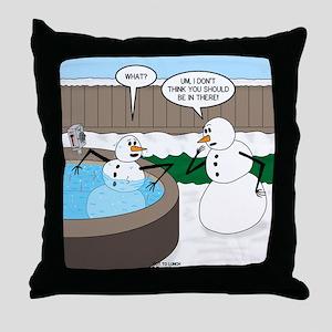 Snowman in an Hot Tub Throw Pillow