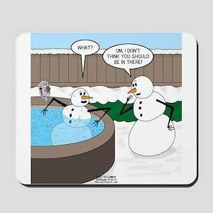 Snowman in an Hot Tub Mousepad