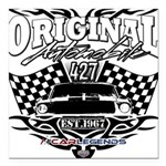 Classic Car Tribal Flags Square Car Magnet 3