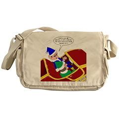 Elf Installs GPS for Santa Messenger Bag