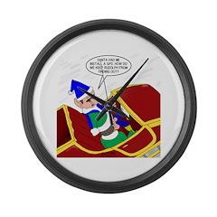 Elf Installs GPS for Santa Large Wall Clock