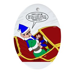 Elf Installs GPS for Santa Oval Ornament