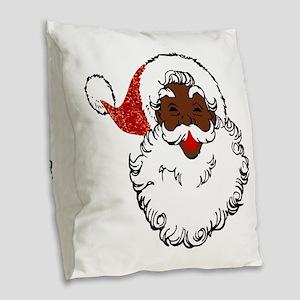 sequin African santa claus Burlap Throw Pillow